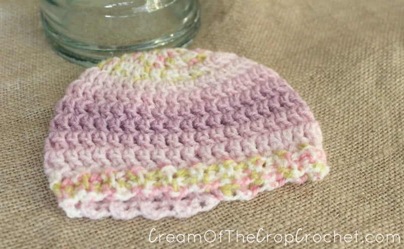 3-5 lb Preemie Light Worsted Weight Stretchy Ribbed Hat Crochet Pattern