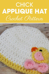Preemie Newborn Chick Applique Hat Crochet Pattern