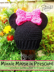 Minnie Mouse in Preschool Hat Crochet Pattern