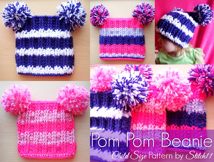 Child Size Pom Pom Beanie Crochet Pattern