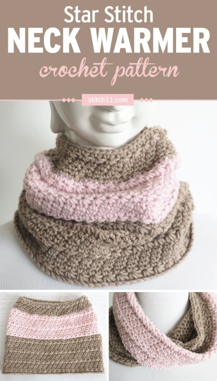 Star Stitch Neck Warmer Crochet Pattern