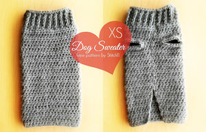 Extra Small Crochet Dog Sweater - Top and Bottom Views