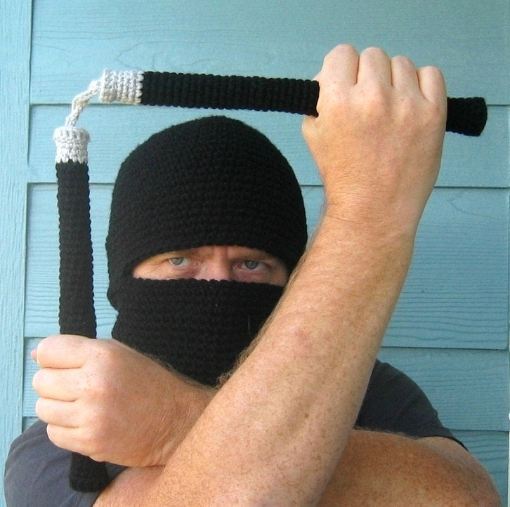 Ninja Hood and Nunchucks Amigurumi Crochet Pattern