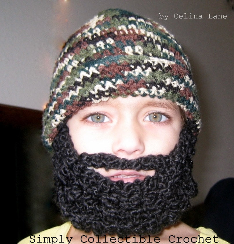Crochet Hat Pattern Crochet Beard Pattern Child Beard Hat Pattern- Baby Beanie, Full Beard, Santa Claus