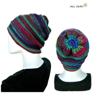 Penelope's Whimsical Floral Slouch Beanie Hat Crochet Pattern