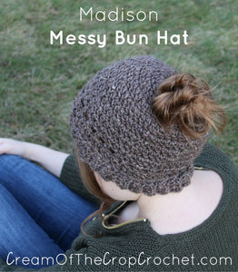 Madison Messy Bun Hat Crochet Pattern