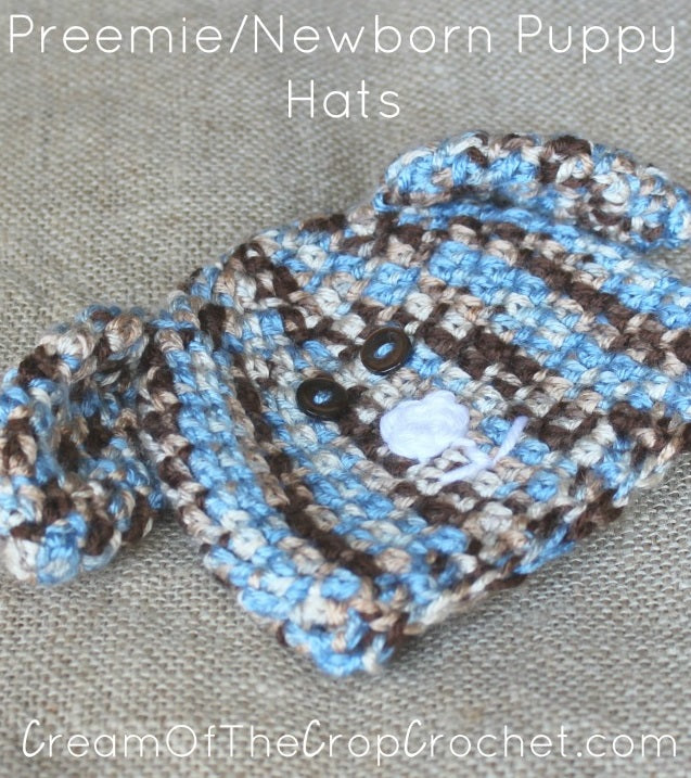 Preemie Newborn Puppy Hat Crochet Pattern