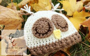 Preemie Newborn Sleepy Owl Hat Crochet Pattern