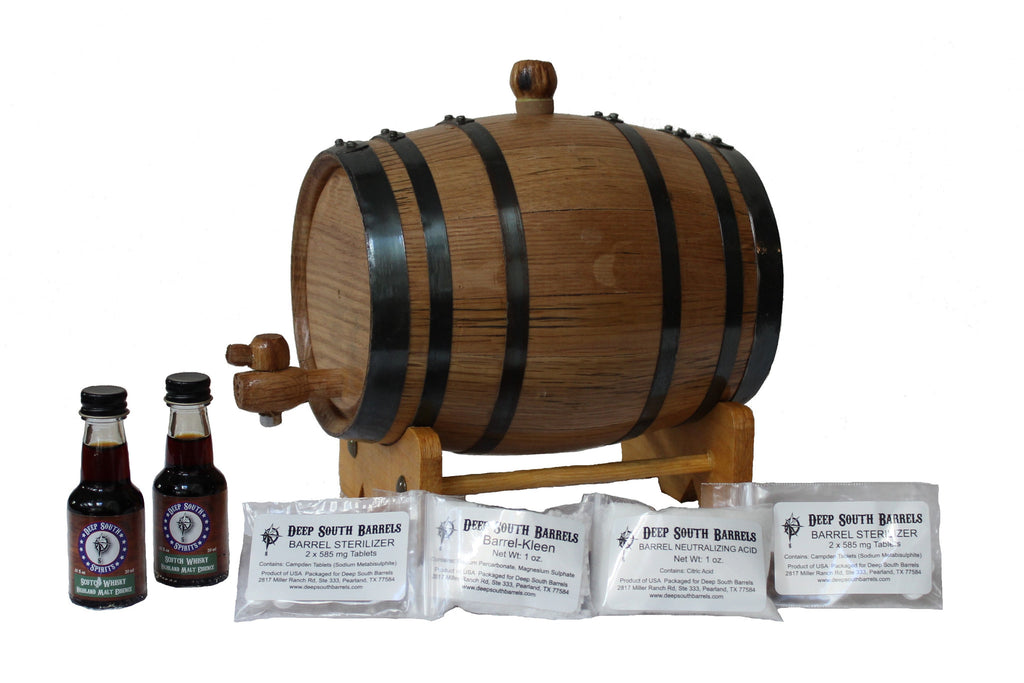 2-Liter American White Oak Barrel Whiskey Kit with Cleaning Kit