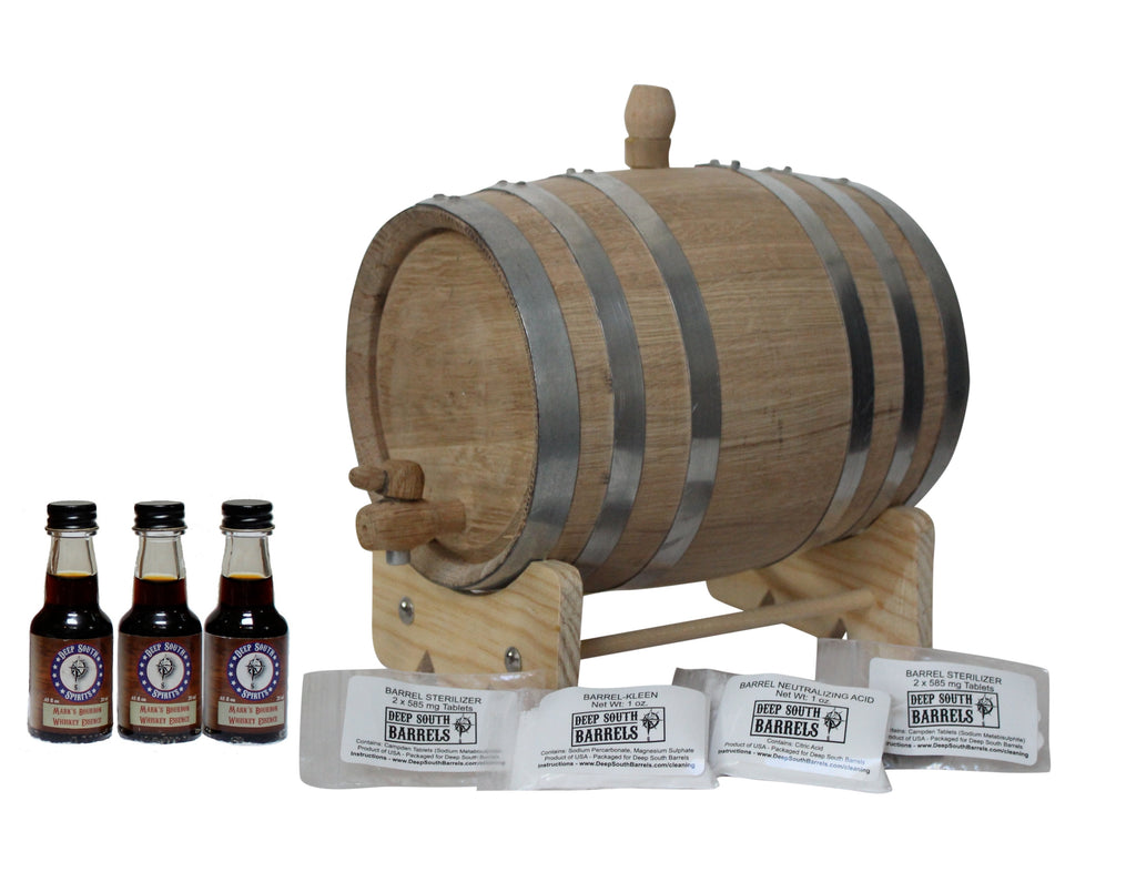 3-Liter Unfinished American White Oak Barrel Bourbon Kit with Cleaning Kit