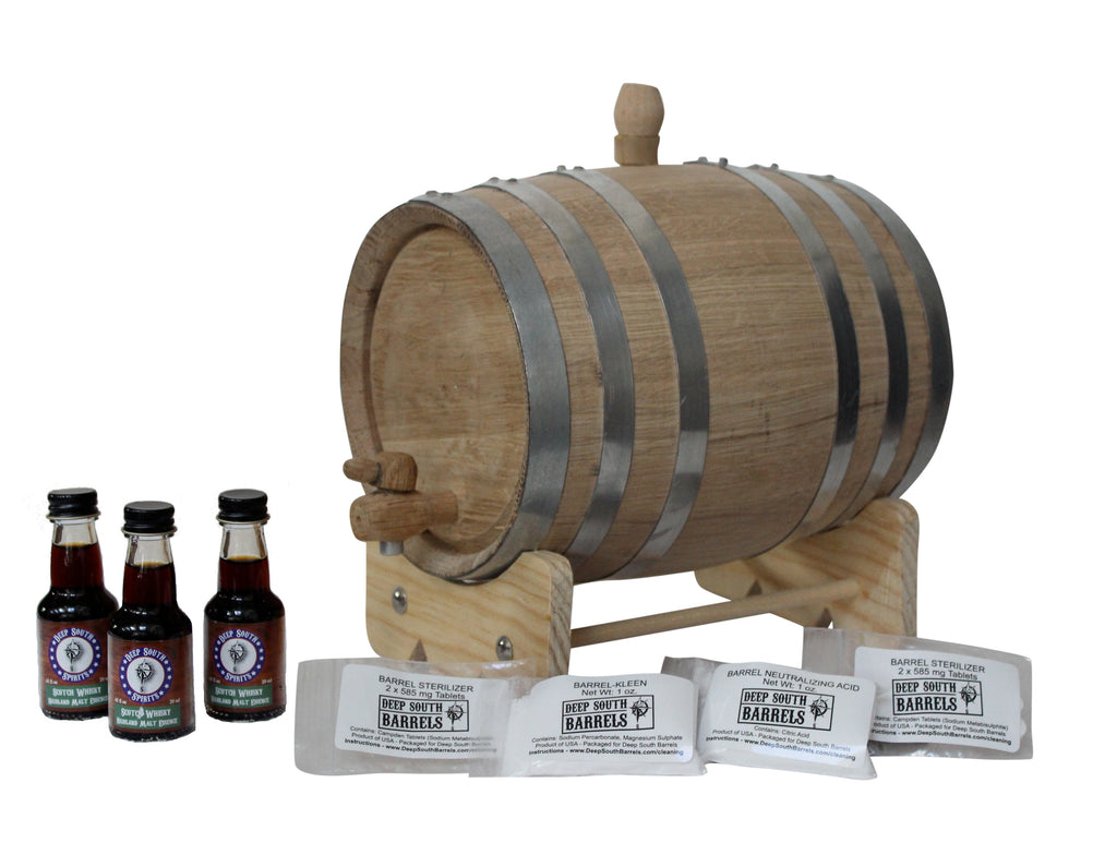 3-Liter Unfinished American White Oak Barrel Scotch Whisky Kit with Cleaning Kit