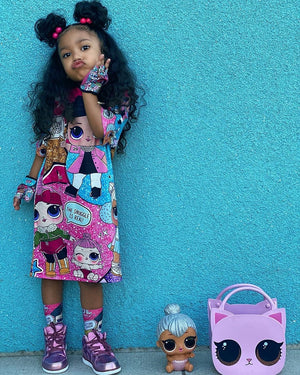 Girls t-shirt dress with LOL Doll Surprise design cheap girls clothes lol doll surprise socks  lol doll