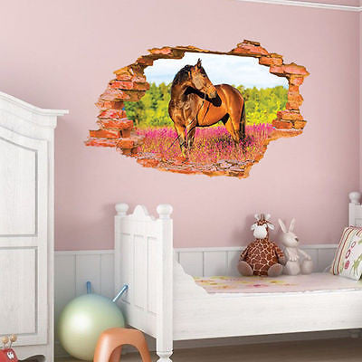 ... 3D Broken Wall Pattern Wall Stickers Horse Wall Decals Vinyl Stickers  Room Decor ...