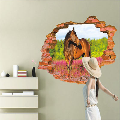 3D Broken Wall Pattern Wall Stickers Horse Wall Decals Vinyl Stickers Room  Decor