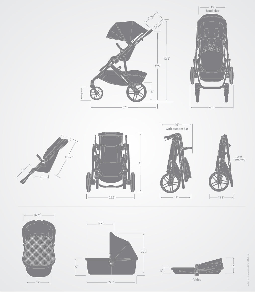 uppababy 2018 vista stroller - baby on the hip