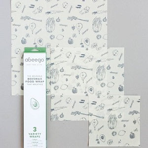 abeego reusable beeswax food wrap variety pack