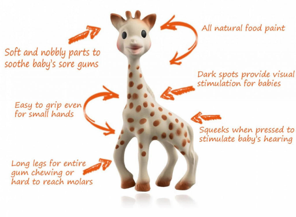 sophie the giraffe teething toy baby on the hip. Black Bedroom Furniture Sets. Home Design Ideas
