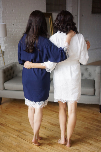 Solid Cotton Lace Trim Robe