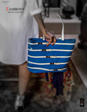 Blue & White Shopping Tote - shopzambony