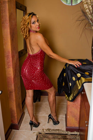 Red Splash of Diamonds Halter Dress - shopzambony