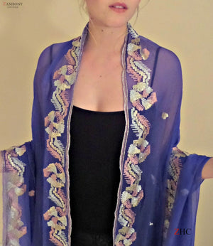 Shawl Silk Blue Chiffon Handcrafted in Pastel Metal Thread - shopzambony