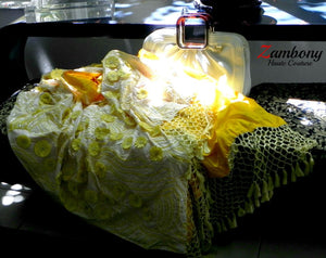 Shawl Yellow Silk Raffia - shopzambony