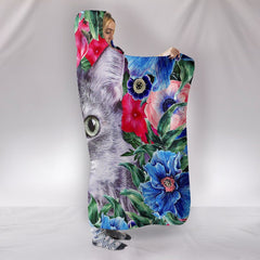 Floral Kitty Cat Hooded Blanket