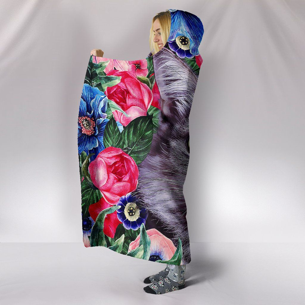 Blanket - Floral Kitty Cat Hooded Blanket