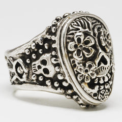 Skull Ring - Day Of The Dead May Flower Stainless Steel Ring