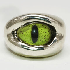 Skull Ring - Stainless Steel Green Dragon Eye Ring