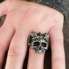 Stainless Steel Native American Horned Skull Ring
