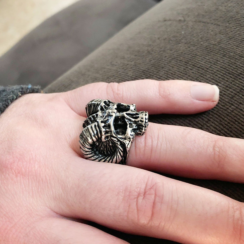 Skull Ring - Stainless Steel Native American Horned Skull Ring