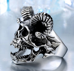 Stainless Steel Screaming Horns Skull Ring