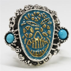 Skull Ring - Stainless Steel Turquoise Sugar Skull Ring