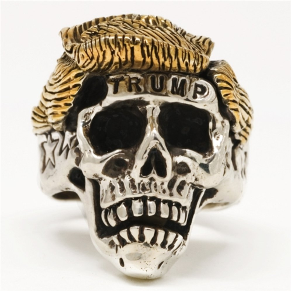 Skull Ring - Trump Skull Stainless Steel With 18k Gold Plated Hair Ring
