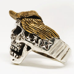 Trump Skull Stainless Steel with 18k Gold Plated Hair Ring