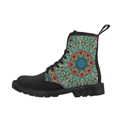 Hibiscus Mandala with Black Sole Boots