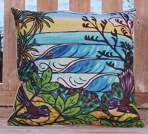 """NZ Summer Surf"" cushion cover."