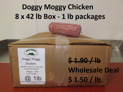 Doggy Moggy Chicken Raw Dog Food / WHOLESALE DEAL / 8 BOXES (patties only) @ 40lb each = 320 lb - $ 1.50 per lb