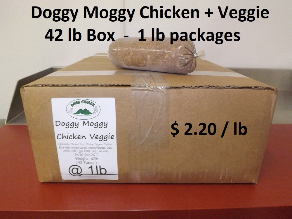 Doggy Moggy Chicken Veggie Raw Dog Food - 42lb Box / 1 lb packs - $2.20 per lb