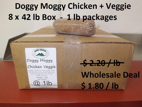 Doggy Moggy Chicken Veggie Raw Dog Food / WHOLESALE DEAL / 8 BOXES (1 lb packs) @ 42lb each = 336 lb - $ 1.80 per lb