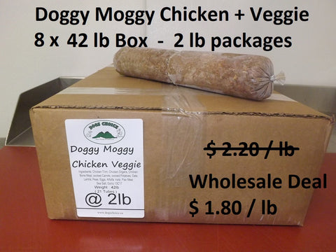 Doggy Moggy Chicken Veggie Raw Dog Food / WHOLESALE DEAL / 8 BOXES (2 lb packs) @ 42lb each = 336 lb - $ 1.80 per lb