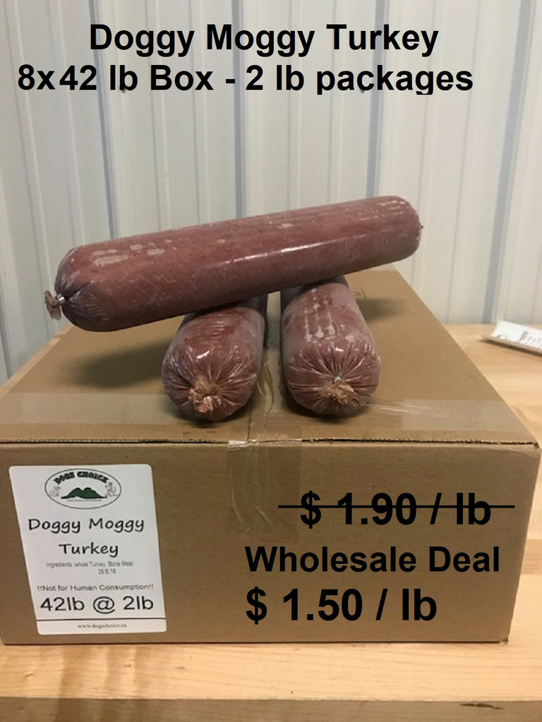 Doggy Moggy Turkey Raw Dog Food / WHOLESALE DEAL / 8 BOXES (2lb packs) @ 42lb each = 336 lb - $ 1.50 per lb