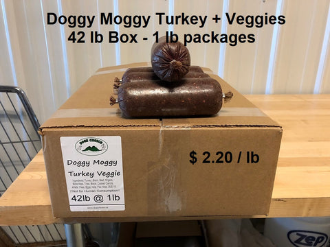 Doggy Moggy Turkey + Veggie Raw Dog Food - 42lb Box / 1 lb packs - $2.20 per lb