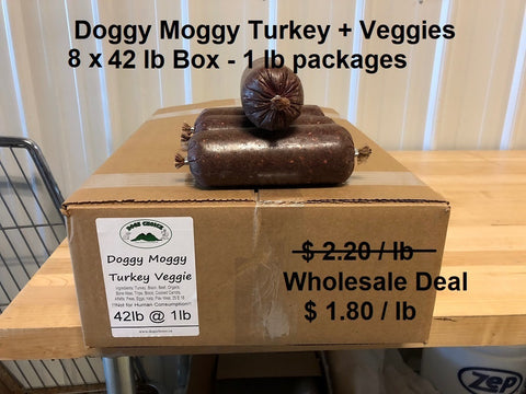 Doggy Moggy Turkey Veggie Raw Dog Food / WHOLESALE DEAL / 8 BOXES (1 lb packs) @ 42lb each = 336 lb - $ 1.80 per lb