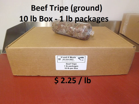 Beef Tripe ground, 10 lb Box in 1 lb Packs