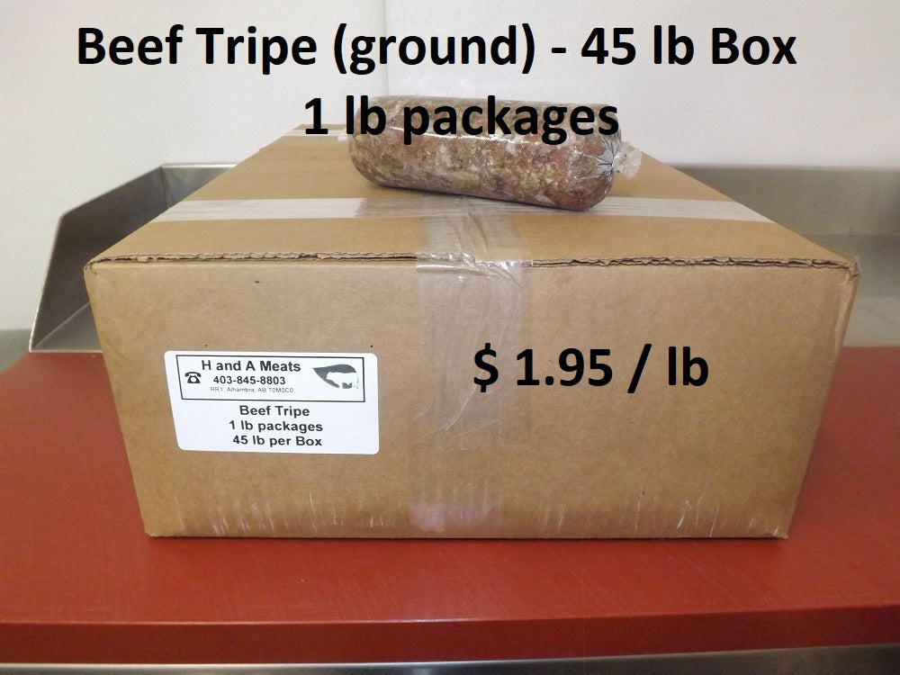 Beef Tripe ground, 45 lb Box in 1 lb Packs