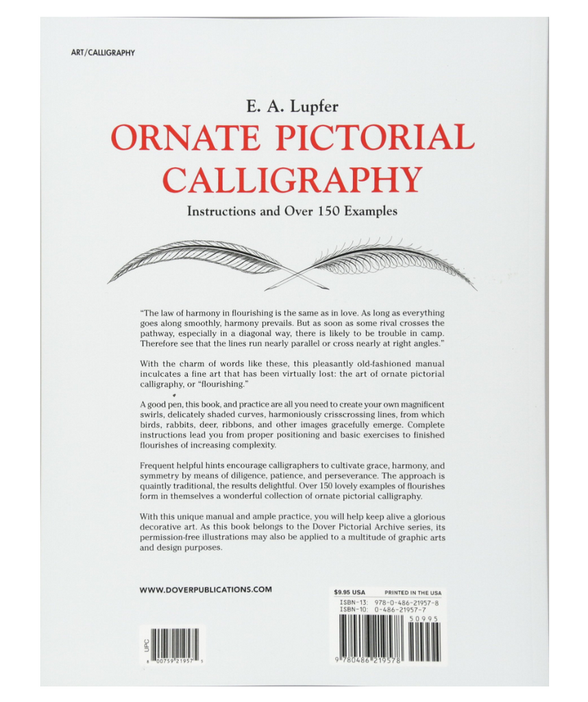 Book - Ornate Pictorial Calligraphy: Instructions and over 150 Examples (Lettering, Calligraphy, Typography) Lupfer, E.A