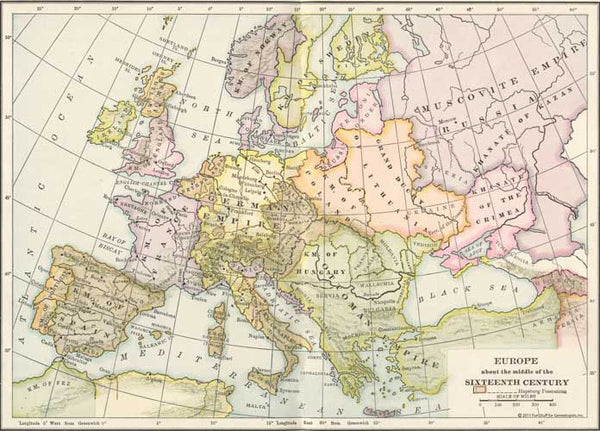Europe in the Middle of the 16th Century