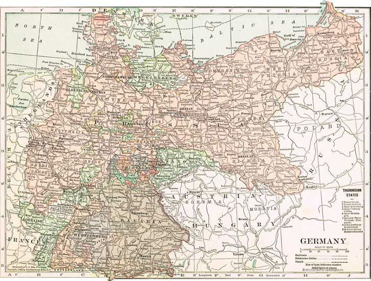 1910 Map of Germany